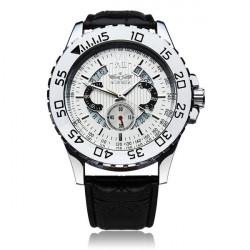 Winner Männer Skeleton lederne mechanische Uhr
