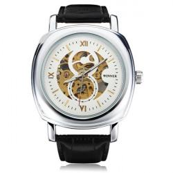 Winner Männer Skeleton Platz Big Dial Leder mechanische Uhr