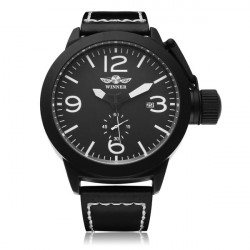 Winner Military Simple Style Mechanical Leather Men Watch
