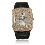 Woman PU Leather Analog Crystal Rhinestone Square Quartz Wrist Watch Watch
