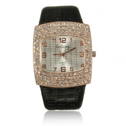 Woman PU Leather Analog Crystal Rhinestone Square Quartz Wrist Watch
