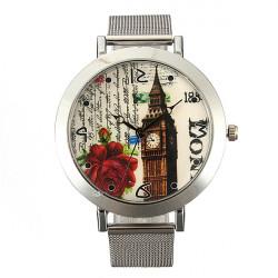 Frau Edelstahlgewebe Band große Zifferblatt Runde Quarz Armbanduhr
