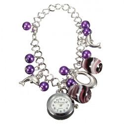 Women Beads Flower Dolphins Cuff Quartz Chain Bracelet Wrist Watch