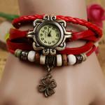 Frauen Four Leaf Clover Webart Anhänger Armband Armbanduhr Uhren