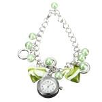 Frauen Heart Shaped rundes Korn Stulpe Quarz Kettenarmband Armbanduhr Uhren