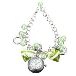 Women Heart Shaped Round Bead Cuff Quartz Chain Bracelet Wrist Watch