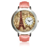 Dam Ladies Eiffeltornet 3D Urtavla Rosa Läderarmband Quartz Armbandsur Klockor