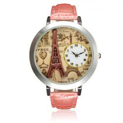 Dam Ladies Eiffeltornet 3D Urtavla Rosa Läderarmband Quartz Armbandsur
