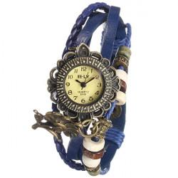 Women Sunflower Pendant Beads Leather Wrap Woven Quartz Watch