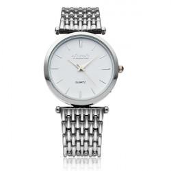 Yishi Mode Silber Edelstahl Mann Frauen Quarz Armbanduhr