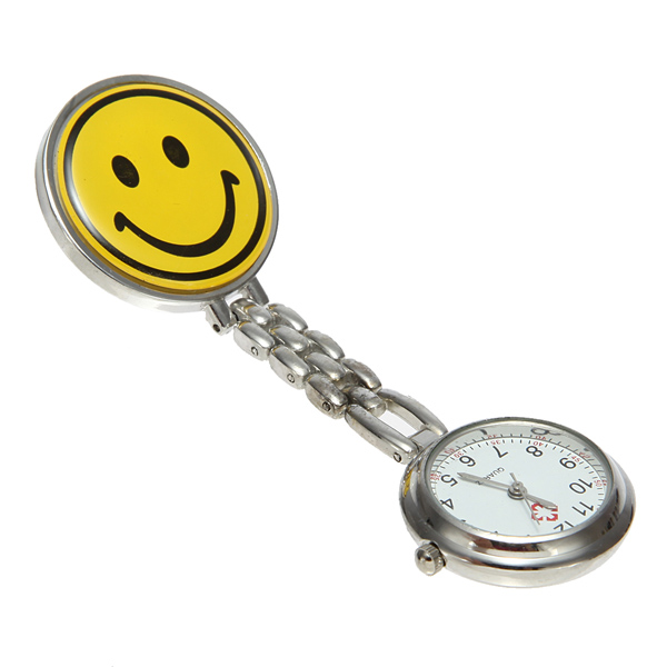 Gul Smile Face Nurse Watch Pin Broche Watch Fob Watch Ure & Armbåndsure