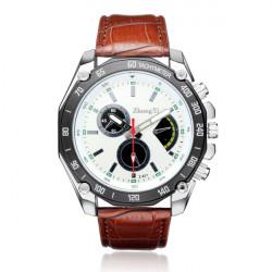 ZhongYi Military Black White PU Leather Big Dial Men Wrist Watch