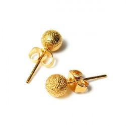 14K Gold Plated Globular Ball Stud Earrings Women Jewelry