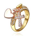 18K Forgyldt Krystal Tværs Hjerte Vedhæng Ring for Kvinder Damesmykker