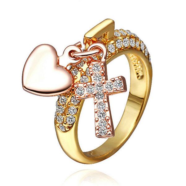 18K Gold überzogener Kristall Kreuz Herz Anhänger Ring für Frauen Damenschmuck