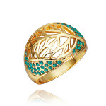 18K Gold Plated Hollow Leaf Crystal Rhinestone Finger Ring For Women Women Jewelry