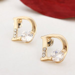 18K Gold Plated Letter D Zircon Ear Stud Crystal Alloy Earrings Women Jewelry