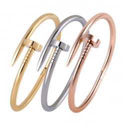18K Gold Plated Nail Screw Cuff Bracelet Bangle For Women Men