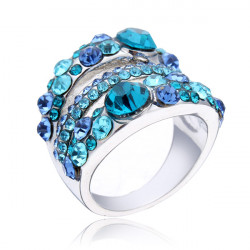 18K Platinum Plated Austrian Crystal Finger Ring For Women