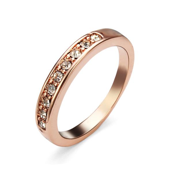 18K Rose Guldpläterade Österrikisk Crystal Ring för Kvinnor Damsmycken