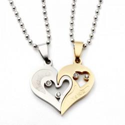 1 Paar Edelstahl 316L Ich liebe dich Matching Hearts Liebhaber Ketten