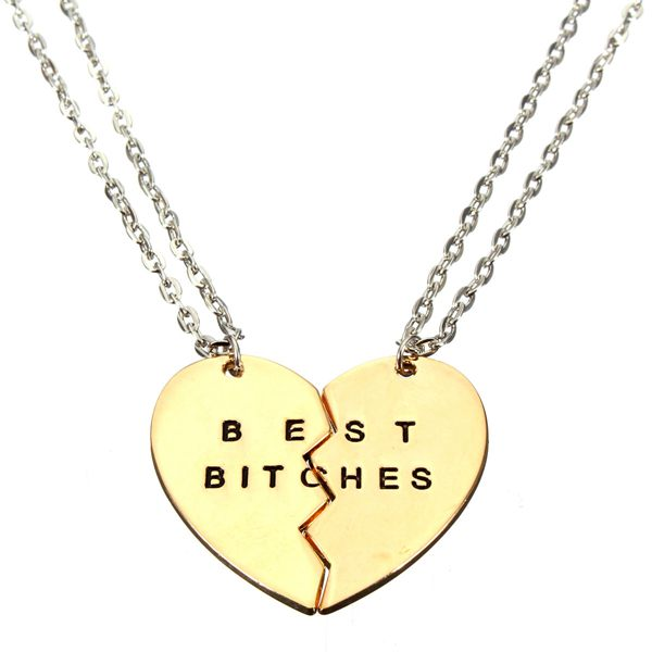 1 Paar Gold Broken Heart Doppel Teile Bestes Weibchen hängende Halsketten Damenschmuck