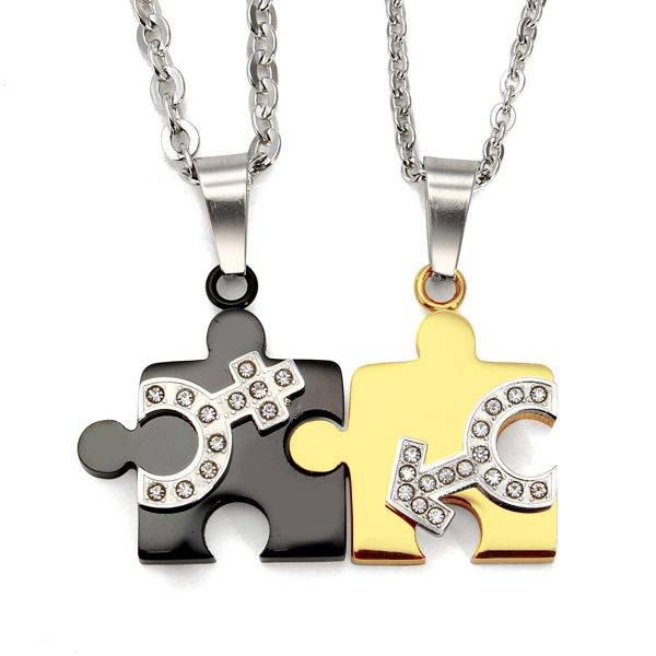 1 Pair Lovers Rustfrit Stål Mand Kvinde Symbol Puzzle Halskæder Fine Smykker