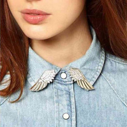 1 Pair Punk Gold Silver Wings Collar Alloy Pin Brooches Jewelry