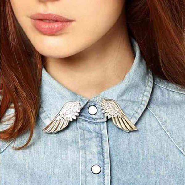 1 Paar Punkgold Silber Wings Kragen Alloy Broschen Schmuck Damenschmuck