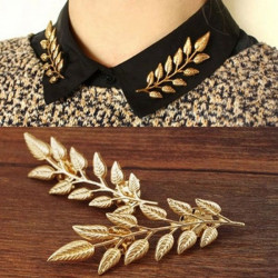1Pair Vintage Gold Silver Leaf Collar Pins Brooches Jewelry Unisex