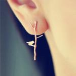 1 Pair Vintage Gold Tree Branches Lovely Bird Ear Stud Earrings Women Jewelry
