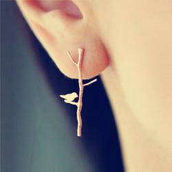 1 Par Vintage Guld Trädgrenar Lovely Fågel Ear Stud Örhängen