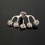 1pc Crystal Runde Hjerte Rose Flower Ørestik Earring for Kvinder Damesmykker