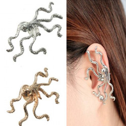 1pc Gold Silver Alloy Octopus Animal Ear Cuff Clip Earring Jewelry