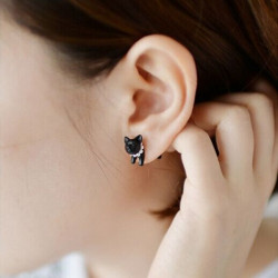 1pc Lovely Sort Leopard Cat Puncture Ear Stud Øreringe for Kvinder