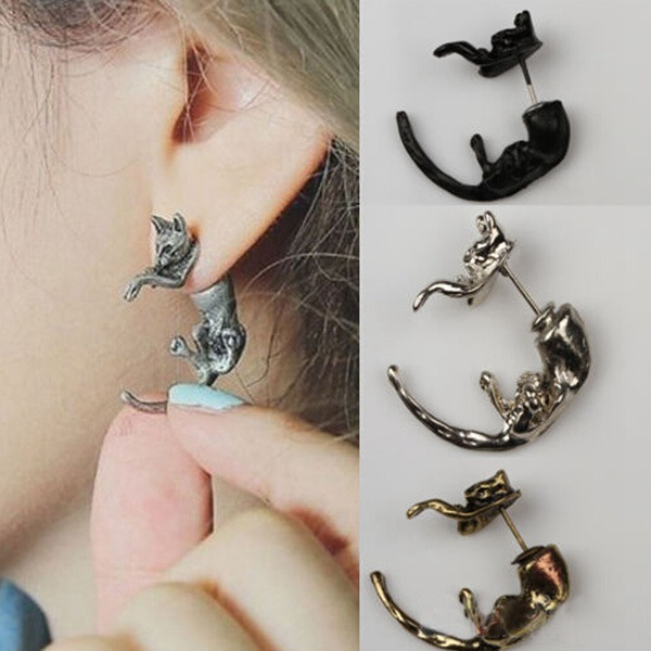 1st Lovely Long Tail Leopard Katt Punktering Ear Stud Earring Unisex Damsmycken