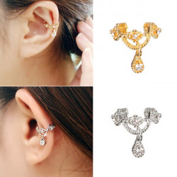 1pc Rhinestone Crown Wrap Ear Cuff Earring Hook No Piercing