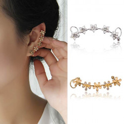 1pc Rhinestone Star Flower Earring Clip Ear Cuff For Women