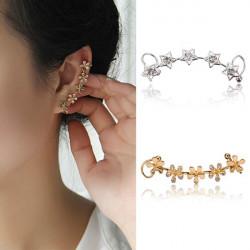 1pc Rhinestone Stjerne Flower Earring Clip Ear Cuff for Kvinder