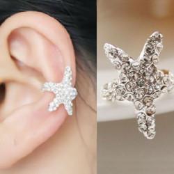 1pc Silver Rhinestone Wrap Starfish Ear Cuff Clip Earring No Piercing