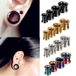 1st Rostfritt Stål Flared Ear Plug Hollow Expander Tunnel Piercing
