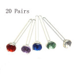 20 Pairs Cute Plastic Earrings Crystal Rhinestone Ear Studs Jewelry Women Jewelry
