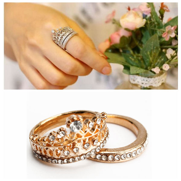 2st Elegant Guld Silver Crystal Rhinestone Crown Ringar för Kvinnor Damsmycken