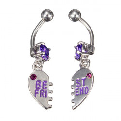 2st Crystal Best Friend Navel Ringar Navel Piercing Smycken