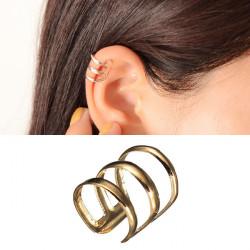 2st Guldpläterade U-formad Ihåliga Ut Ear Cuff Ingen Piercing Clip