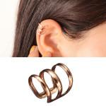 2st Rose Guldpläterade U-formad Hollow Out Ear Cuff Ingen Piercing Clip Damsmycken