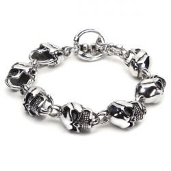 316L Rostfritt Stål Skull Växla Armband Silver Tonen Herr Smycken