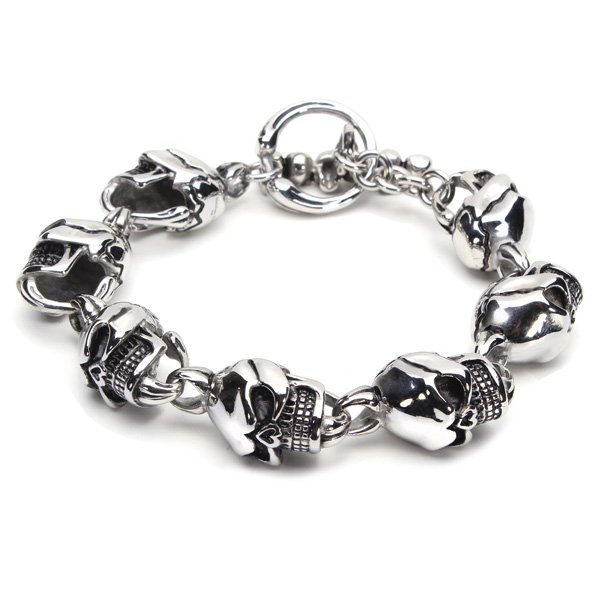 316L Rustfrit Stål Skull Toggle Armbånd Sølv Tone Mænd Smykker Fine Smykker