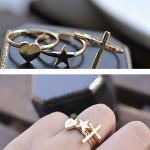 3stk Guld Cross Hjerte Pentagram Stjerne Fingerringee Stacking Set Damesmykker
