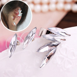 3Pcs Wings Leaf Clear Crystal Ear Clip Cuff Stud Earrings